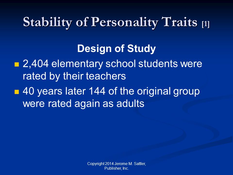Stability of Personality Traits [1]
